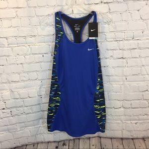 Nike Dri-Fit Blue and Green Pattern Tank Top